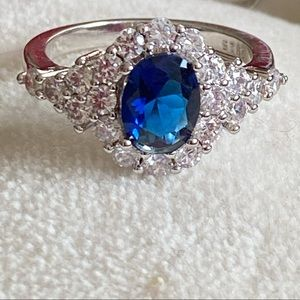 Jewelry - Sterling Silver Sapphire and CZ Ring